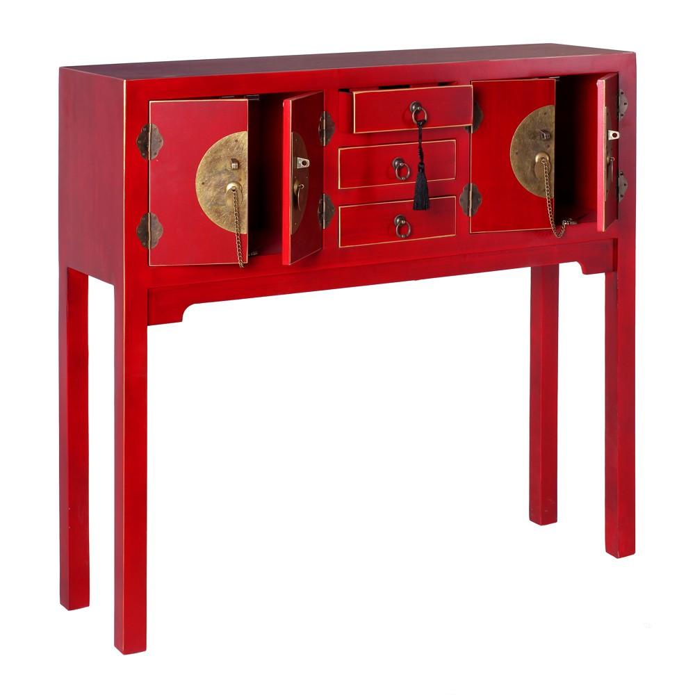 Consola china oriental 4 puertas roja nuryba - Ixia muebles ...