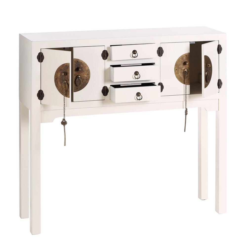 Consola China Oriental 4 Puertas Blanca IX64530