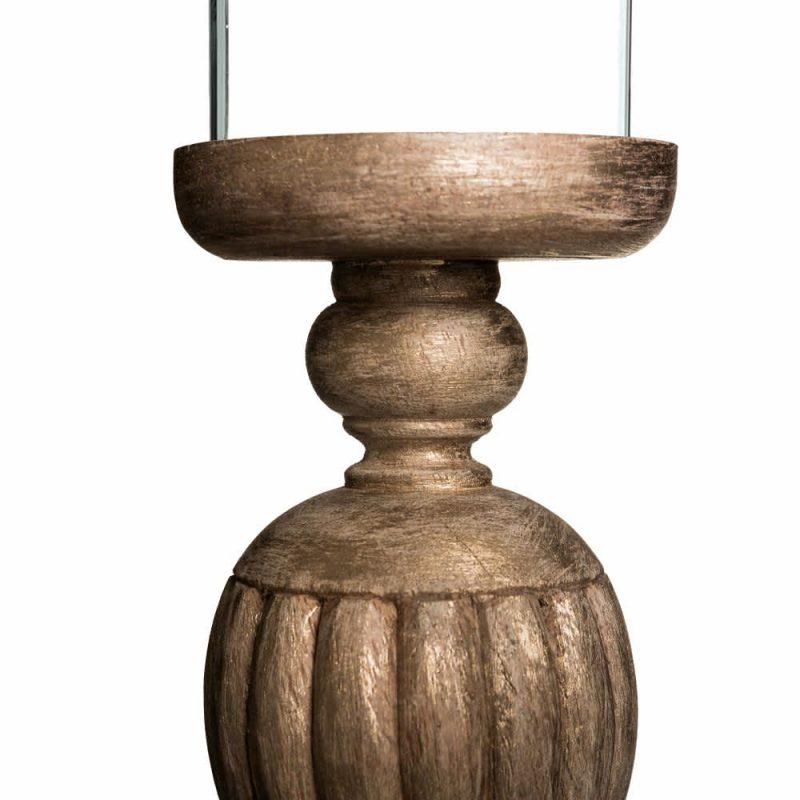 Portavelas cristal madera natural 30 cm IX100670
