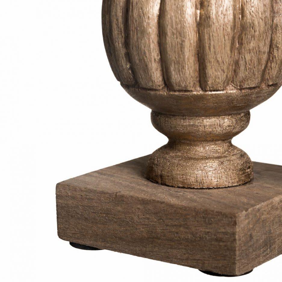Portavelas cristal madera natural 34 cm IX100671