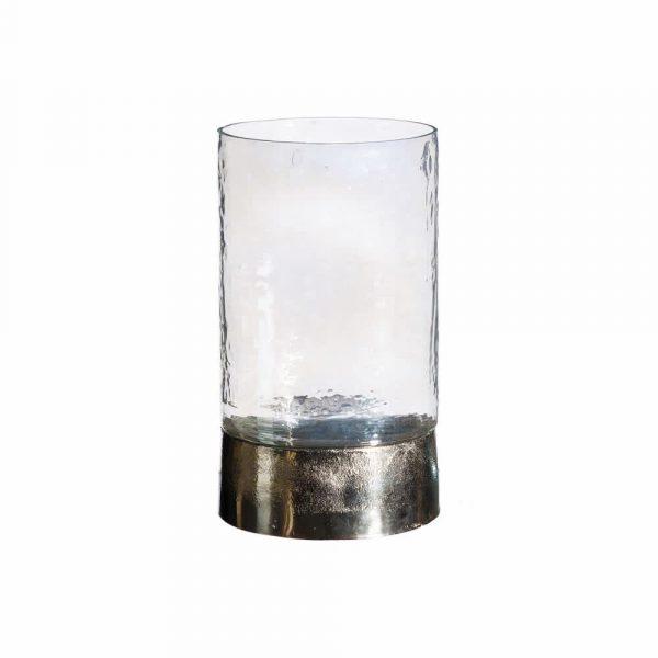 Portavelas cristal metal 26 cm IX101733