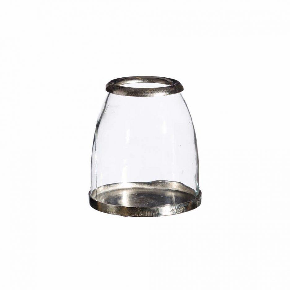 Portavelas cristal metal 19 cm IX101735