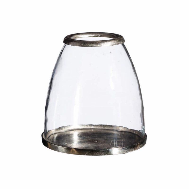 Portavelas cristal metal 26 cm IX101736