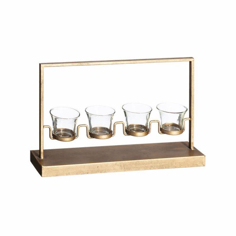 Portavelas cristal metal 39 cm IX102038