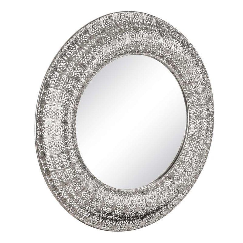 Espejo redondo plateado 110 cm IX103337