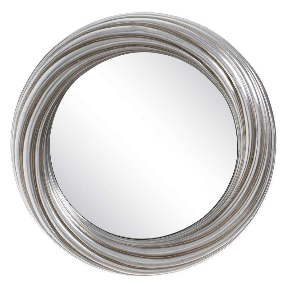 Espejo redondo plateado decorativo 80 cm IX103696