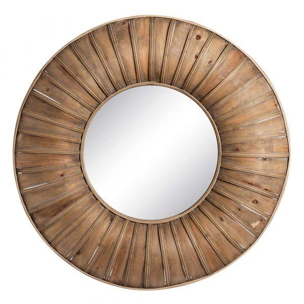 Espejo redondo decorativo bambú 80 cm IX106051