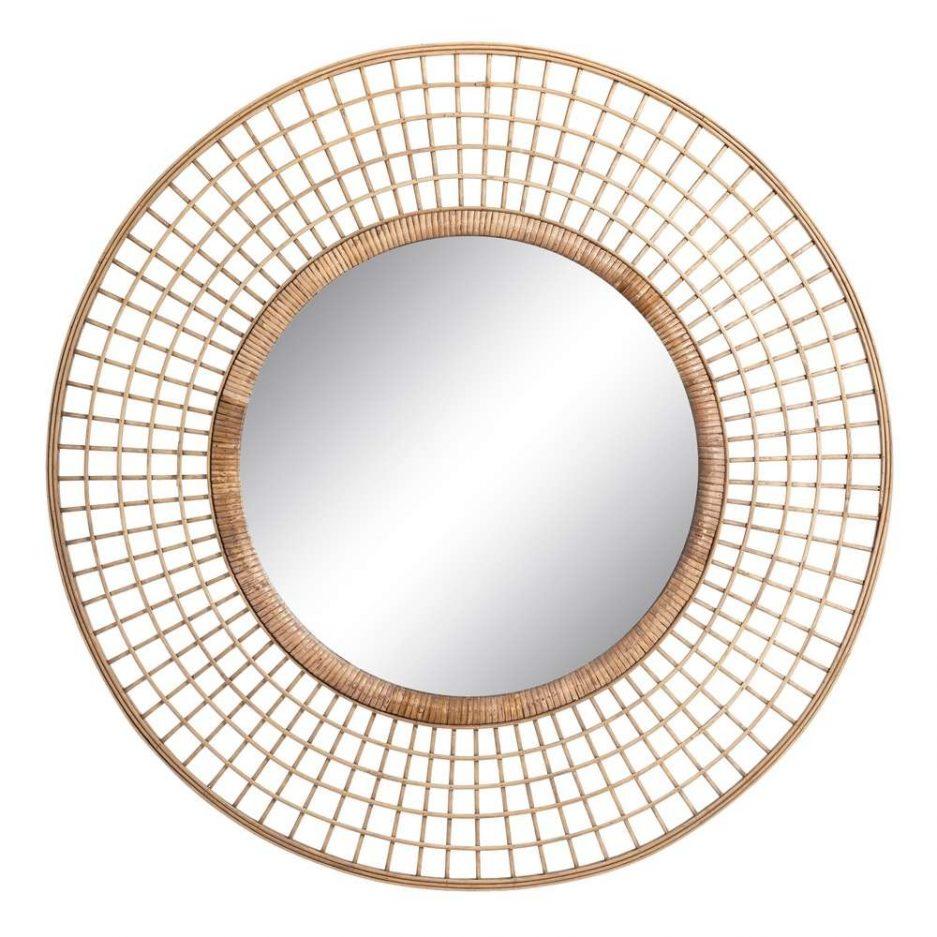 Espejo recibidor redondo bambú 90 cm IX106053