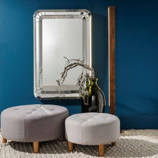 Espejo decorativo plateado 120 cm IX106487