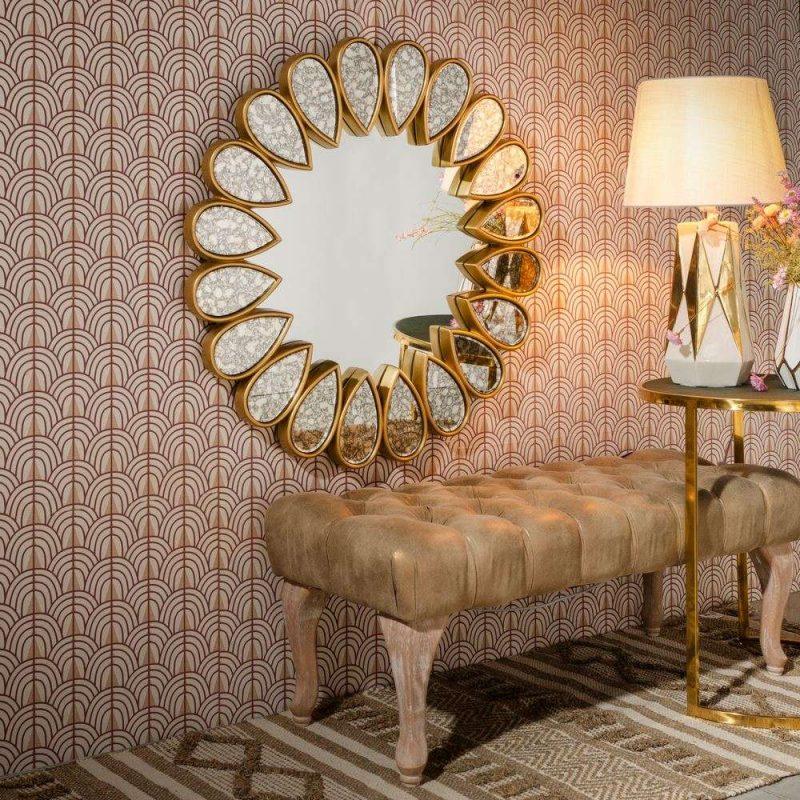 Espejo sol dorado decorativo 80 cm IX107645