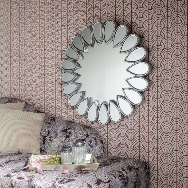 Espejo sol plateado decorativo 80 cm IX107646