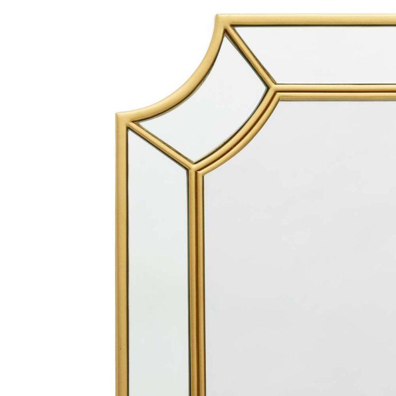 Espejo de pared decorativo dorado 100 cm IX107648
