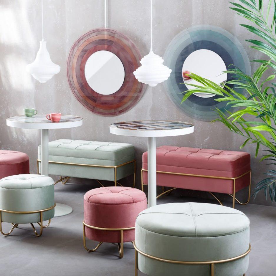 Espejo decorativo redondo rosa 80 cm IX151545