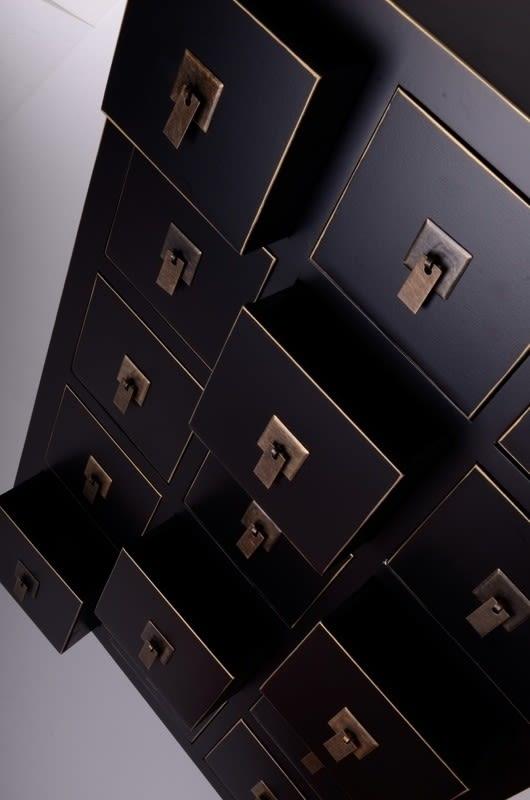 Mueble cajonera chino oriental 15 cajones negro IX18386