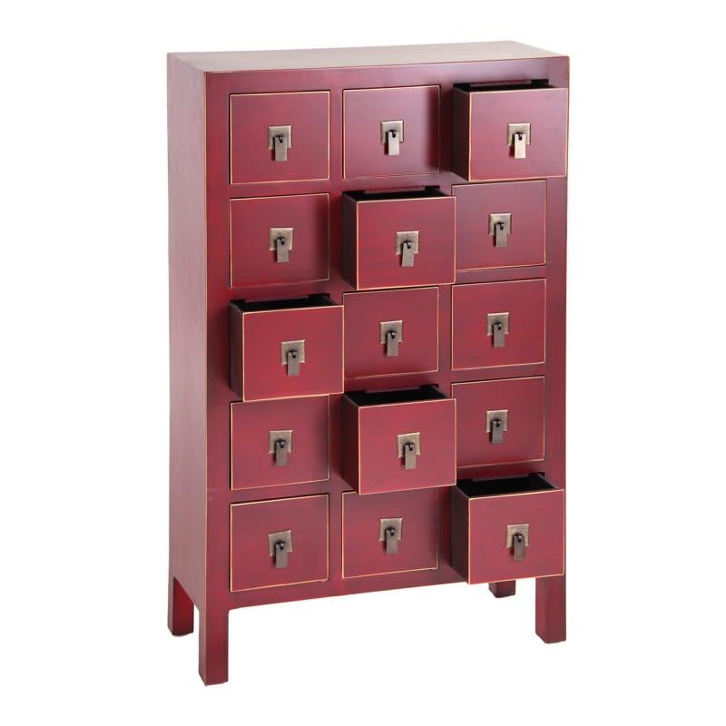 Mueble cajonera chino oriental 15 cajones rojo IX50035