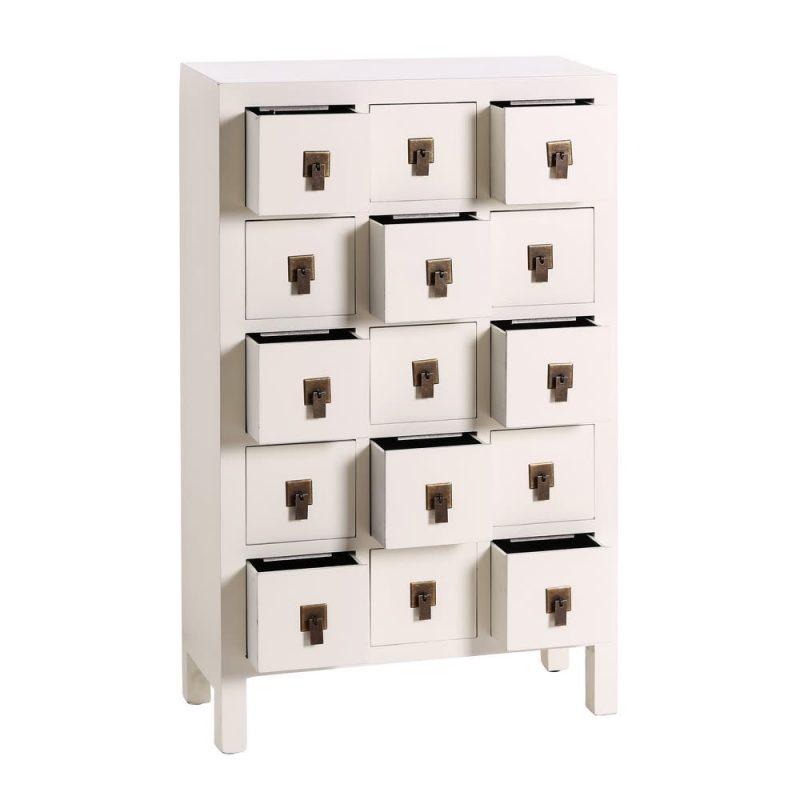 Mueble cajonera chino oriental 15 cajones blanco IX64537