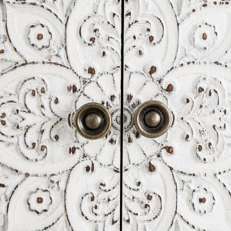 Consola China Oriental 4 Puertas Gris Rozado IX108181