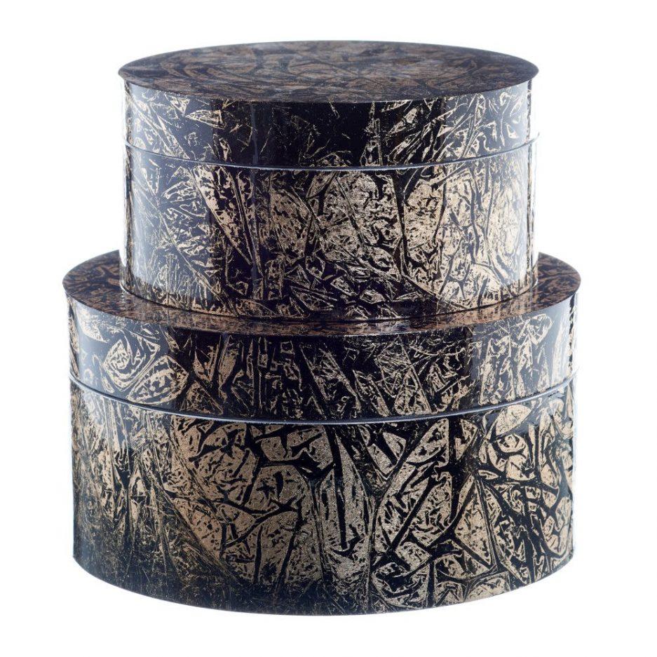 Cajas decoración negro oro, juego de 2 IX153817
