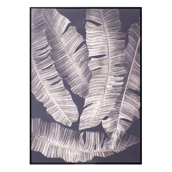Cuadro naturaleza moderno hojas negro y blanco 140 cm IX151560