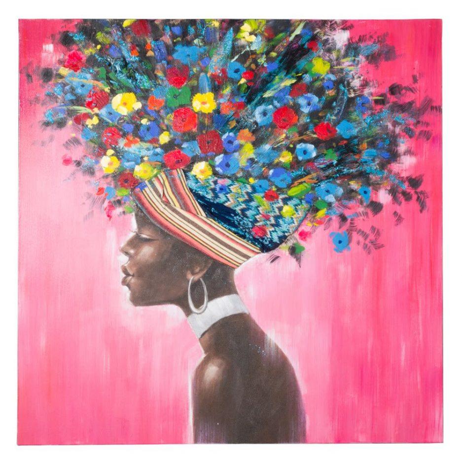 Pintura africana cuadro mujer 120 cm IX151612