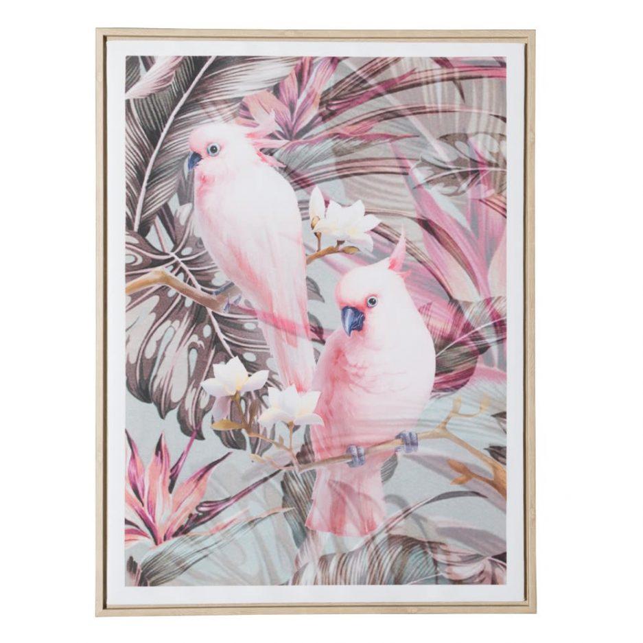 Cuadros animales pájaros carolinas 80 cm, juego de 2 IX151625
