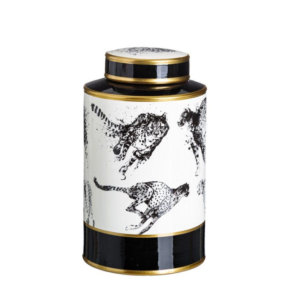 Jarrón decorativo blanco negro Kimana 28 cm IX151888