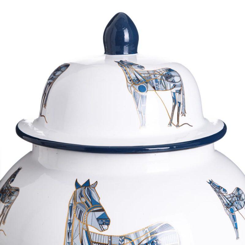 Jarrón chino decorativo blanco azul Xiluzhen 38 cm IX151890