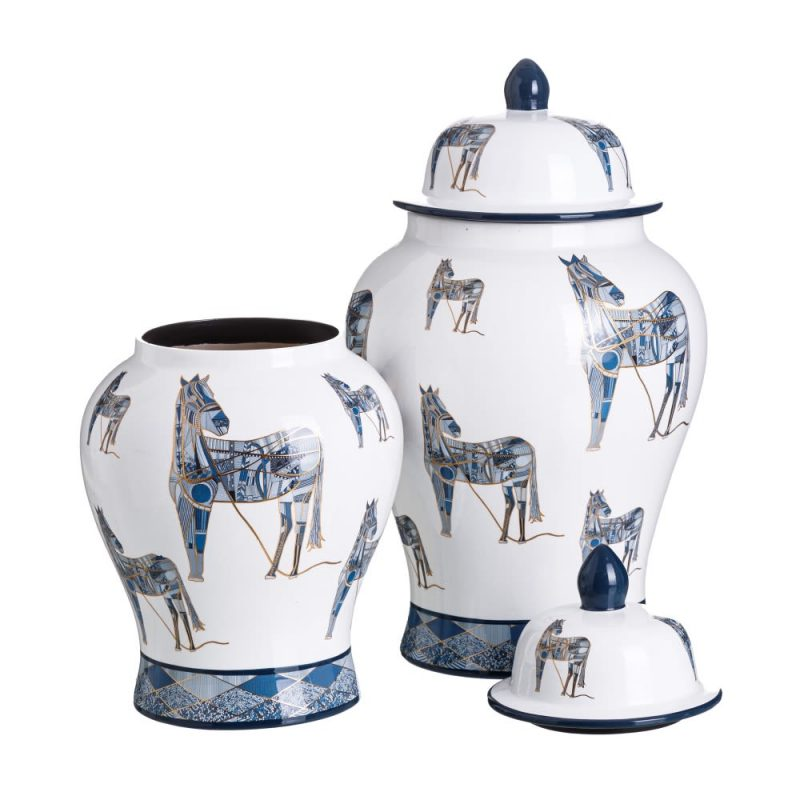 Jarrón chino decorativo blanco azul Xiluzhen 48 cm IX151891