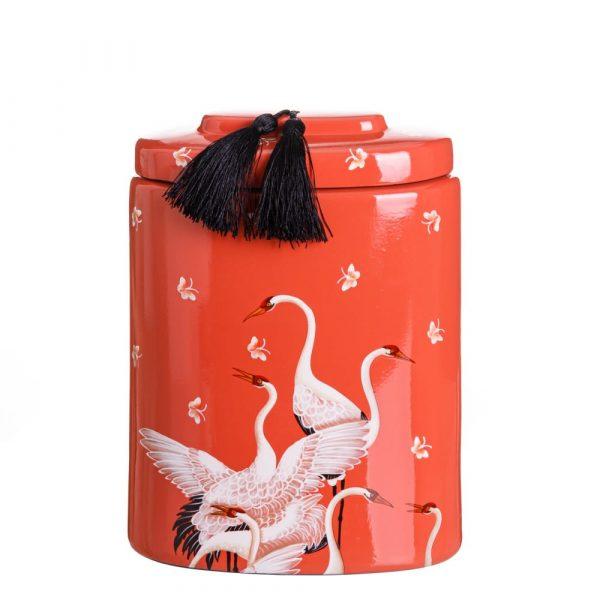 Jarrón chino decorativo naranja Shiyan 31 cm IX151892
