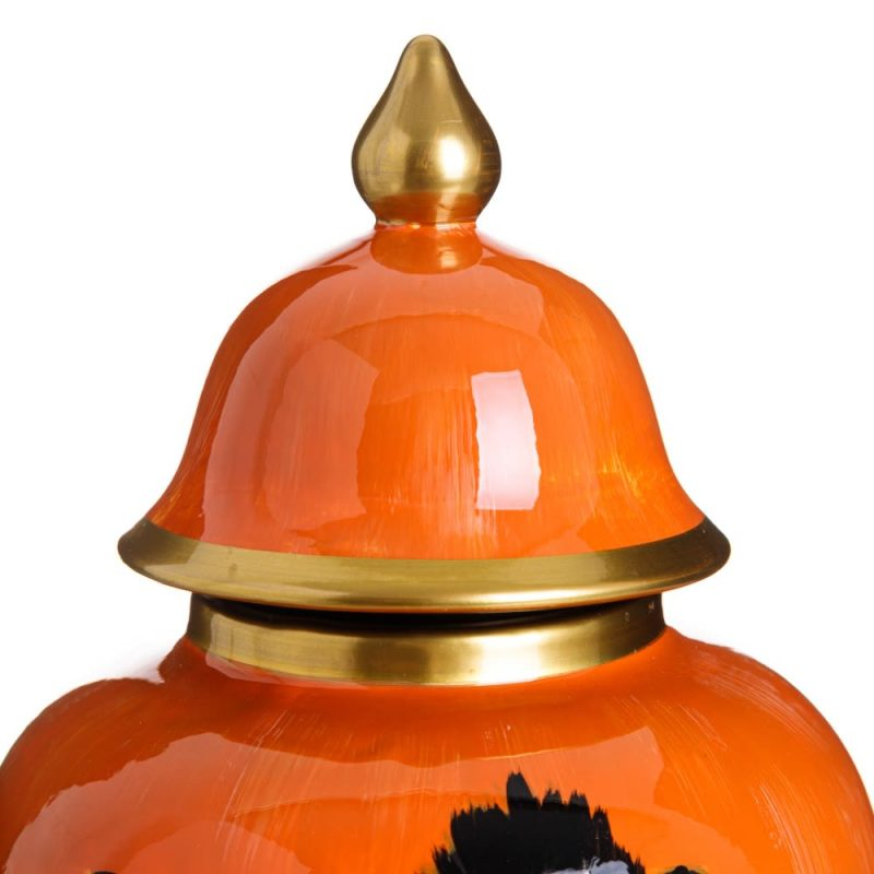 Jarrón decorativo blanco naranja Ikoo 46 cm IX151904