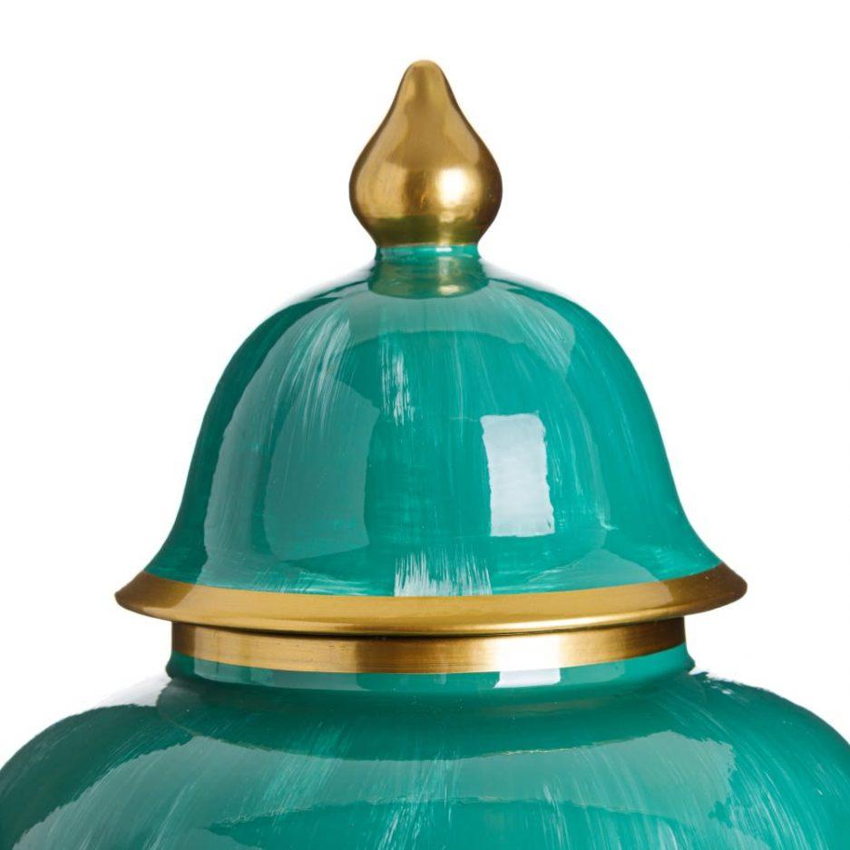 Jarrón decorativo blanco verde Ikoo 63 cm IX151906
