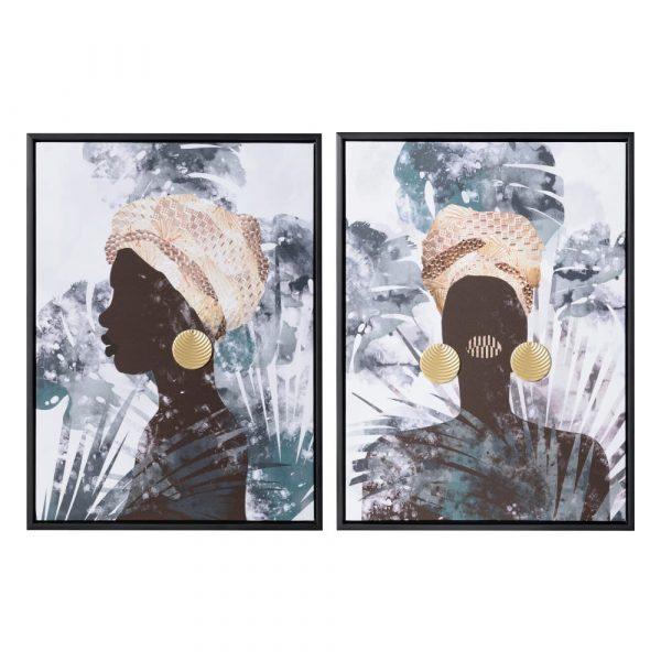 Juego de cuadros mujeres africanas 60 cm IX153159