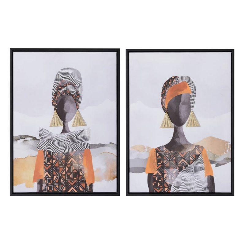 Juego de cuadros mujeres africanas 60 cm IX153160