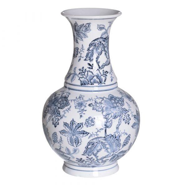 Jarrón chino oriental blanco azul Huangmei 35 cm IX154081
