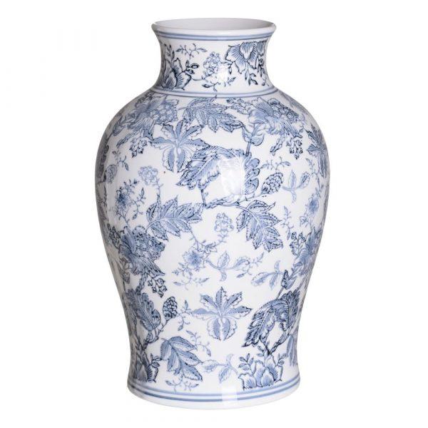 Jarrón chino oriental blanco azul Huangmei 41 cm IX154082