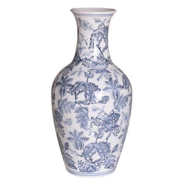 Jarrón chino oriental blanco azul Huangmei 46 cm IX154083