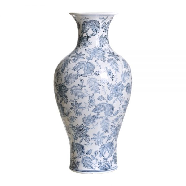 Jarrón chino oriental blanco azul Huangmei 61 cm IX154084