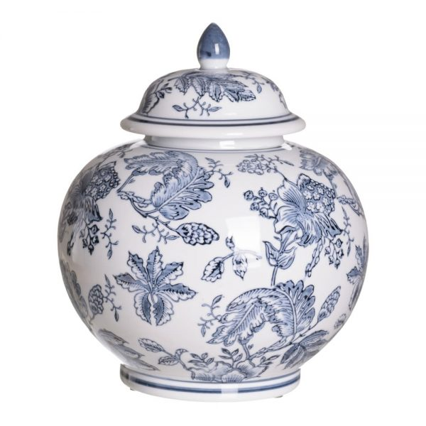 Jarrón chino oriental tibor blanco azul Huangmei 28 cm IX154086