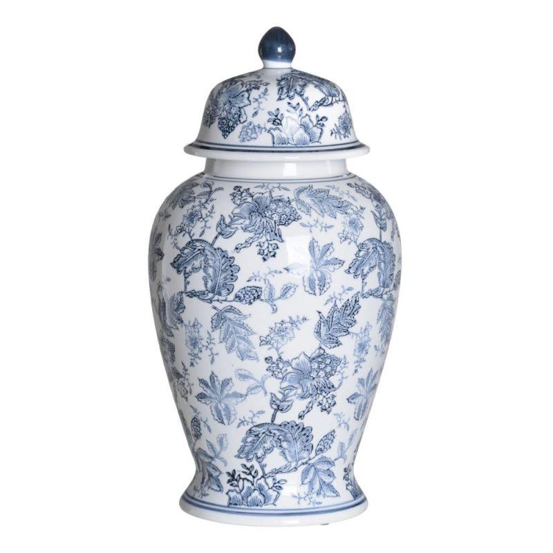 Jarrón chino oriental tibor blanco azul Huangmei 53 cm IX154087