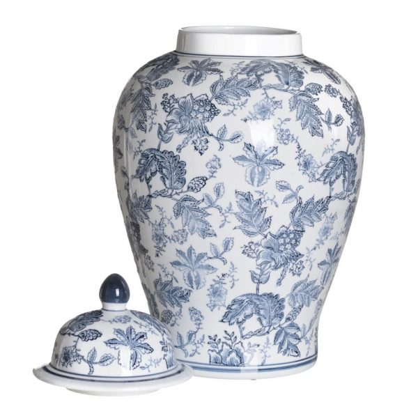 Jarrón chino oriental tibor blanco azul Huangmei 58 cm IX154088