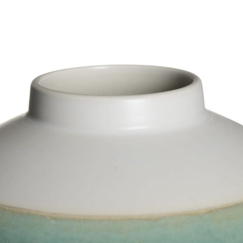 Jarrón decorativo tibor blanco azul 31 cm IX154153