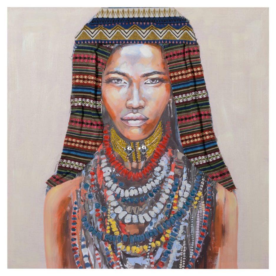 Cuadro mujer africana 80 cm IX154367