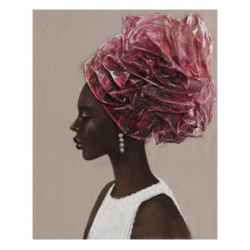 Pintura africana cuadro mujer 100 cm IX600418