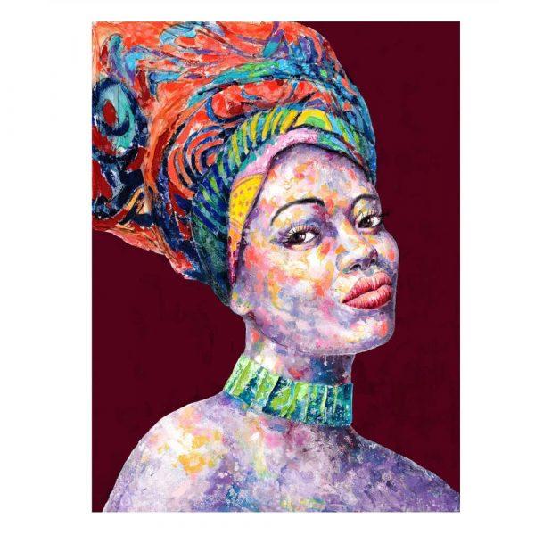Cuadro pintura mujer africana 100 cm IX600750